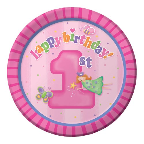[Creative Converting Fun at One Happy First Birthday Girl Round Dinner Plates, Girl, 8 Count] (Creative Halloween Costumes 1 Year Old)