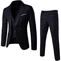 AOQIANG Mens Slim Fit Casual Cotton Single Breasted Business 3 Piece Suits