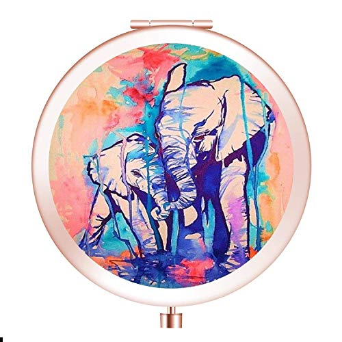 Glad grace Elephant Makeup Mirror Custom Design Hand Mirror Round Travel Mirror with 2 x 1x Magnification for Woman,Mother,Girls,Great Gift.