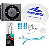 "[Top-Rated Waterproof iPod + Waterproof ""Premium Buds"" Headphones by Swim Audio] WATERPROOF iPod Shuffle With TRUE DIGITAL SOUND Short-cord Premium Buds & Attractive Swim Cap - GRAY"