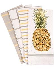 pantry pineapple kitchen dish towel set of 4 100 percent cotton 18 x - Kitchen Towel Sets