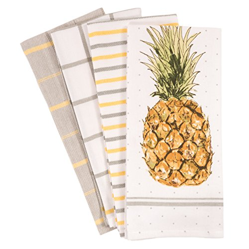 - Pantry Pineapple Kitchen Dish Towel Set of 4, 100-Percent Cotton, 18 x 28-inch