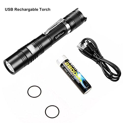 Sofirn SP30A USB ladbare Taschenlampe mit 1100 Lumen, Super Heller Cree XP-L LED, Wasserdicht IPX-7, 5 Mode, für 18650 Li-Ion Akkus