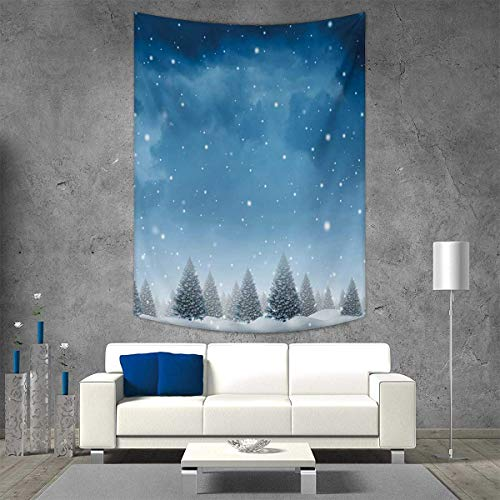 - smallbeefly Winter Tapestry Table Cover Bedspread Beach Towel Christmas Inspired Cold Blue Forest Pine Trees on a Snowing Holiday Night Sky Dorm Decor Beach Blanket 70W x 84L INCH Blue White