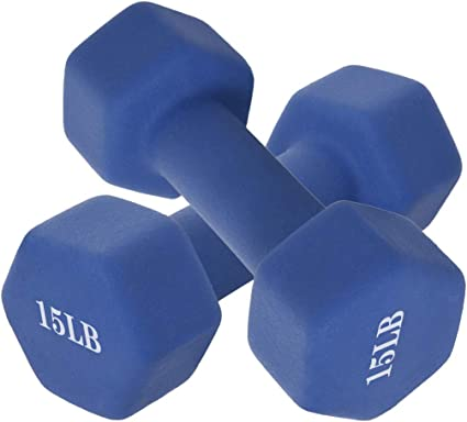 30 LBS Total Weight CAP Hex Neoprene 15 LB Pound Pair of Dumbbell Weights