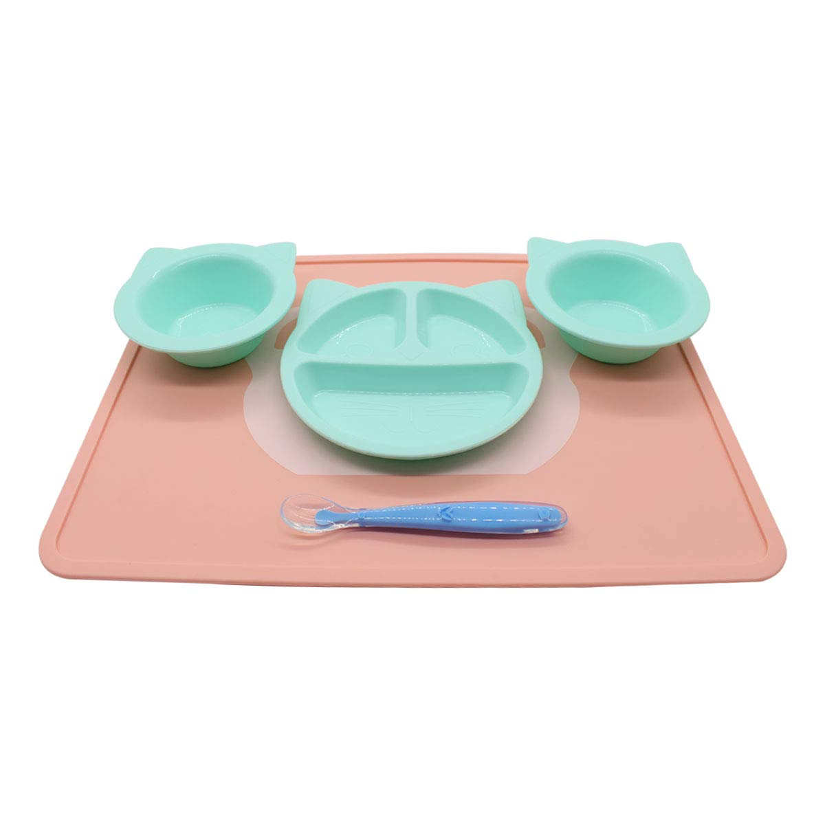Baby Feeding Set -Silicone Bowl and Dishes for Toddler - Non-Slip Placemat Plate Design Cartoon Bowl & Soft Spoon Aids Self Feeding - Toddler Dishes
