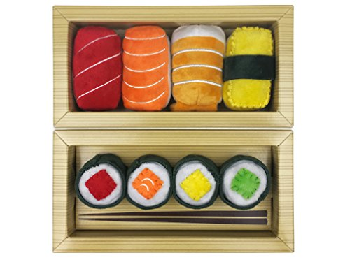 Sushi Toys for Cats, Kittens Catnip Toy Crinkle Paper Bells Rattle 8pc Set Cat Lover Gift Idea for Women, Men in Bento Style Box Packaging Maki Nigiri (Fred Corkscrew)