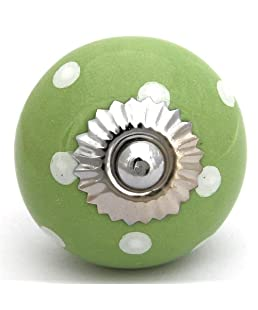 Knobbles and Bobbles Ltd Green knob with white spots