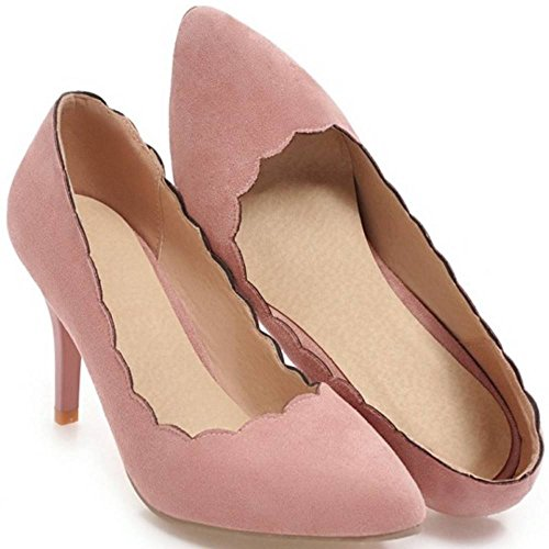 Heel Fashion Women Pumps Shoes High TAOFFEN Pink 7Tzq6n