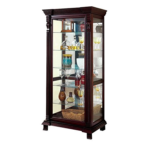 Furniture of America Lisandro Traditional Curio Cabinet in (Oak Traditional Curio Cabinets)