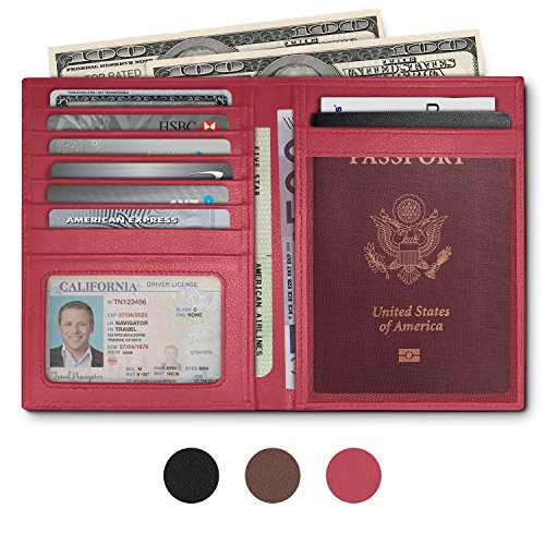 Blocking Leather Passport Holder Women