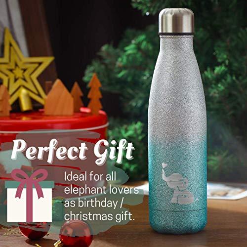 Elephant Gifts Glitter Bottle for Kids Girls Teens Daughter Girlfriend, Stainless Steel Water Bottle for Elephant Lover…