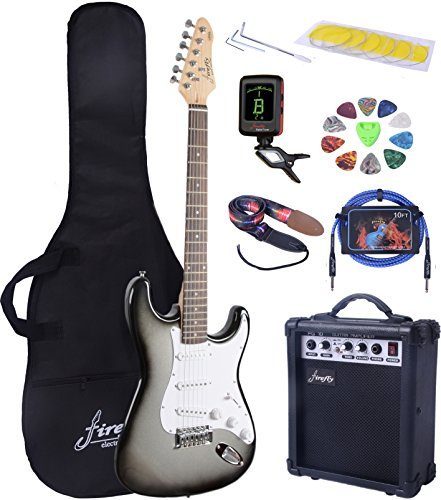 Full Size Silver Burst Electric Guitar with Amp, Case and Accessories Pack Beginner Starter Package - Image 9