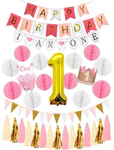 First Birthday Girl Decorations Set | Baby Girl 1st Birthday Part Hat Gold Crown | Cake Topper