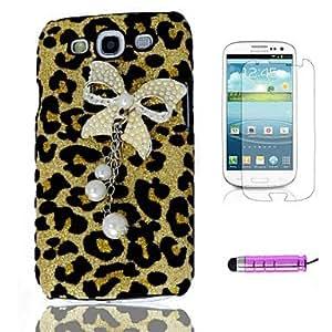 HC-Leopard Bow Plastic Shell del teléfono + HD Film + Stylus Mini 3 en 1 para Samsung i9300 Galaxy S3