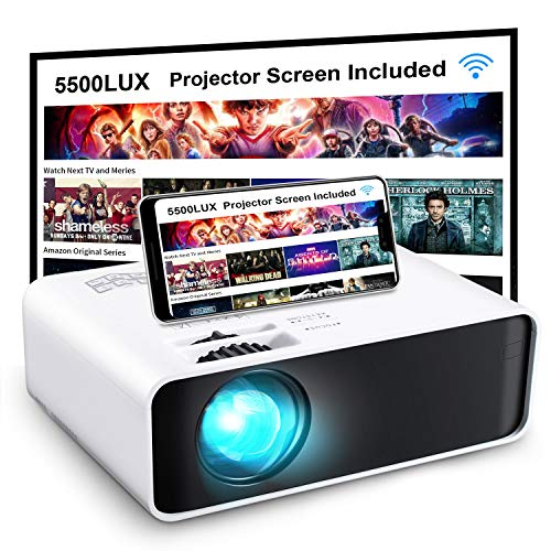 "Projector, GooDee WiFi Mini Projector with Projector Screen, Synchronize Wireless Video Projector LED 1080p Full HD, 200"" Display Portable Home Movie Projector Compatible with TV Stick/DVD/USB/HDMI"