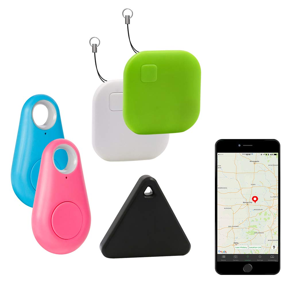 Eccbox Key Finder,Smart Bluetooth Tracker Anti Lost Locator Alarm Wireless Anti-Theft Sensor Remote Selfie Shutter Seeker Finder for Kids, Pet,Wallet, Keys, Car,Smart Phones (Multi-shape-5pcs)