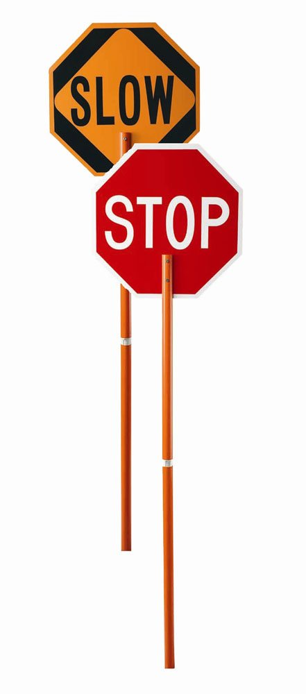Cortina 03-822P ABS Plastic Pole Mounted Paddle Sign, Legend ''STOP/SLOW'', 106'' Height, Red on Orange