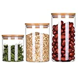 Clear Acrylic Storage Jars Containers with Airtight Seal Bamboo Lid for Bulk Food