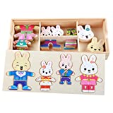 Queena 72 pcs kids Wooden Jigsaw Puzzle Rabbit Family Change Clothes Games Play Set With Storage Case Early Educational Toys