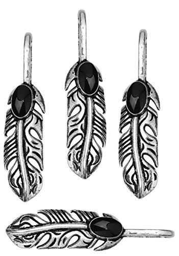 (JGFinds Native American Inspired Feather Charms, 20 pc Silver Tone Pendants 34mm x 8mm, Faux Turquoise (Enamel))
