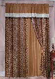 Brown / Beige Micro Suede Windows Curtain 120×84″ For Sale