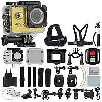 4K HD DV 16MP Sports Action Camera (Yellow) - Wi-Fi + Wrist RF + 170° Wide Angle Lens + Waterproof Case & Backdoor + Bike Mount + Chest & Head Strap + Monopod/Selfie - Deluxe Valued Accessory Bundle