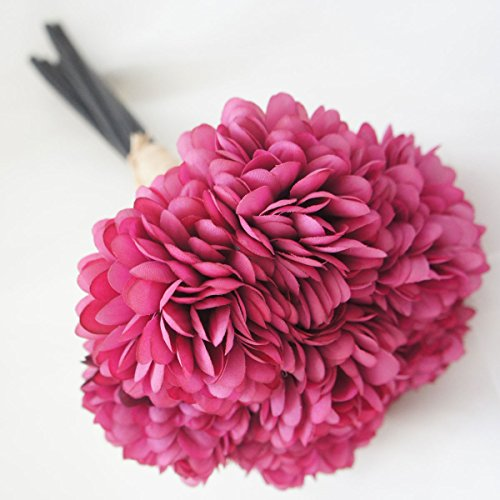Lily Garden Silk Chrysanthemum Ball 7 Stems Flower Bouquet (Fuchsia)