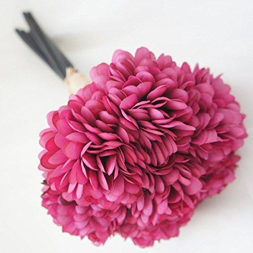 Lily Garden Silk Chrysanthemum Ball 7 Stems Flower Bouquet (Fuchsia)
