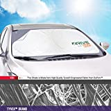 Car Windshield Shade - Best For Cool Interior & Dashboard Protection, DuPont Tyvek® Premium Window Sunshade Blocks Hot Sun - Velcro Universal, Fits Most Auto Vehicles 100% Satisfaction Guaranteed!