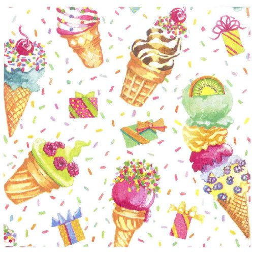 Entertaining with Caspari Ice Cream Party Paper Luncheon Napkins, Pack of 20