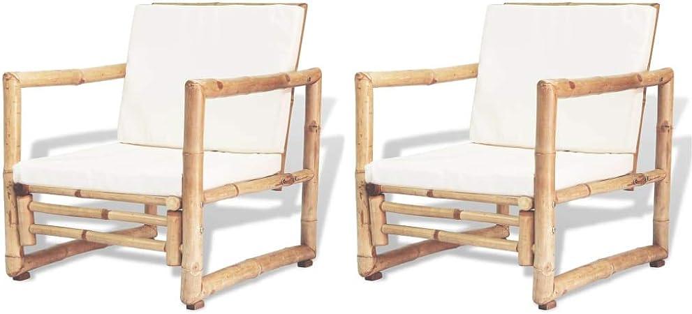 vidaXL 2X Chaise de Jardin Bambou Siège Fauteuil Extérieur ...