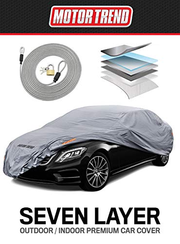 "Motor Trend M5-CC-4 XL Car Cover (7-Series Defender Pro-Waterproof for All Weather-Snow, Wind, Rain & Sun-Ultra Heavy 7 Layers-Fits Up to 210"")"
