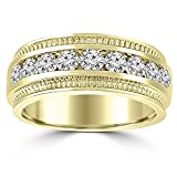0.75 ct Men's Round Cut Diamond Wedding Band Ring in Channel Setting in 14 kt Yellow Gold In Size 12