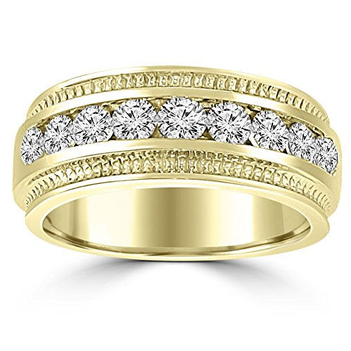 0.75 ct Men's Round Cut Diamond Wedding Band Ring in Channel Setting in 14 kt Yellow Gold In Size 12 by Madina Jewelry
