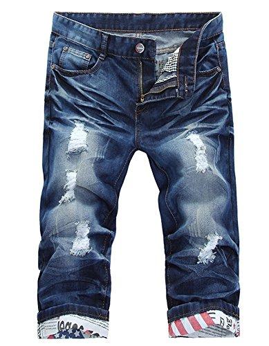 76056b1ea7293 Jual Plaid Plain Men s Slim Fit Ripped Jean Shorts - Denim