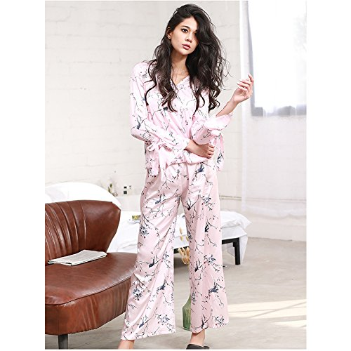 Set Corno Donna Floreale Pantaloni Lunghi Pigiama Loungewear Con Pulsante Rosa Stampa Giù Pigiameria Manica Rosa IFwqxxnXpd