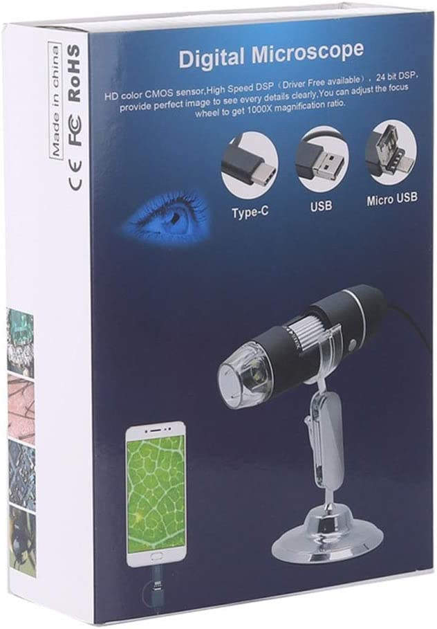 YH-KE Microscope,1000X Magnifier HD 0.3MP Image Sensor 3 in 1 USB Digital Microscope with 8 LED /& Professional Stand Office Supplies