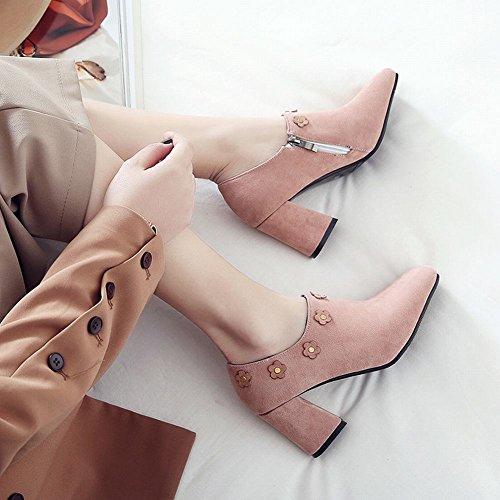 Carolbar Womens Zip Fyrkantig Tå Applikationer Elegans Hög Klack Boots Rosa