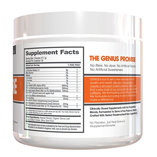GENIUS Pre Workout - Nootropic Based Pre Workout & Caffeine Free Nitric Oxide Boosting Formula with No Cheap Stimulants, Fillers or Dyes, Grape Limeade