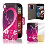 32nd® Design book wallet PU leather case cover for Motorola Moto X Play (2015 edition) + screen protector and cleaning cloth - Love Heart