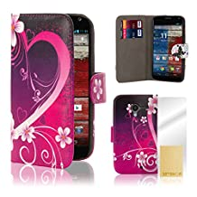 32nd Design book wallet PU leather case cover for Motorola Moto X Play (2015 edition) - Love Heart