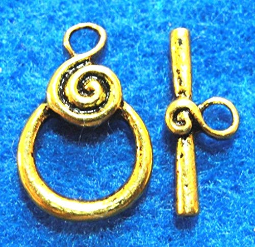 50Sets Wholesale Tibetan Antique Gold Round Swirl Toggle Clasps Connectors Q0765 Crafting Key Chain Bracelet Necklace Jewelry Accessories Pendants -
