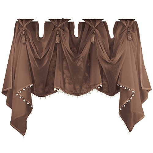 Tassel Sheer Scoop Valance Curtains, Chocolate