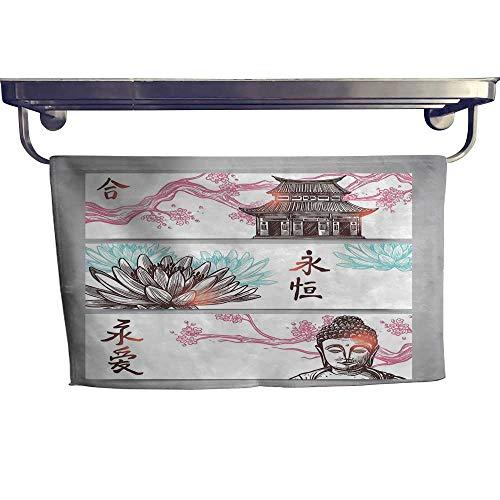 ina Dry Fast Towel Three Part Asian Horizontal Banner Sketch of Pagoda Sakura Branch and LotusMulticolor Towel W 14
