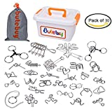 #9: Ahyuan Assorted Metal Brain Teasers Metal Wire IQ Puzzles with Plastic Box Gift Package Great Educational Intelligence Toys for Kids and Adult Pack of 30Pcs