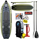 2017 Boardworks Badfisher MCIT 11ft Inflatable Fishing SUP Stand Up Paddle Board Bundle (5 Items) Includes: Adjustable SUP Paddle + WindBone Kitesurf Lifestyle Decals + WBK Koozie + WBK Key Chain
