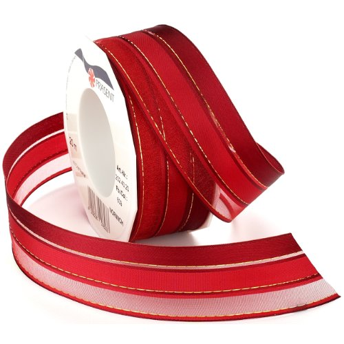 Morex Ribbon Norwich Taffeta Sheer Stripe Ribbon, 1-1/2 by 22-Inch Yard Spool, Red