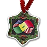 NEONBLOND Christmas Ornament Friendship Flags USA and Senegal