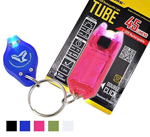Nitecore Tube T Series Pink 45 Lumens USB Rechargeable LED Key Chain Flashlight and 25 Lumens Lumen Tactical Keychain Light Bundle (Pink)